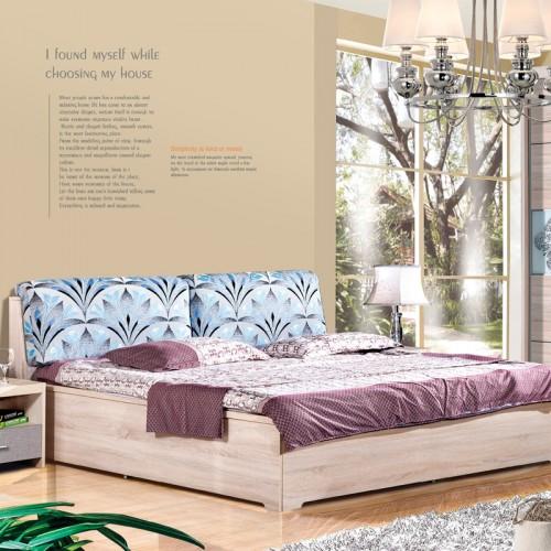 木纹雕套灰布纹双人床套房HC2-MW102