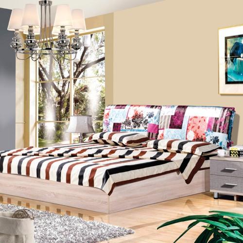 木纹雕套灰布纹时尚双人床套房HXT-04A