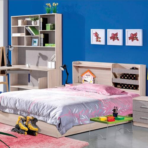 木纹雕套灰布纹儿童床套房HXT-05C2