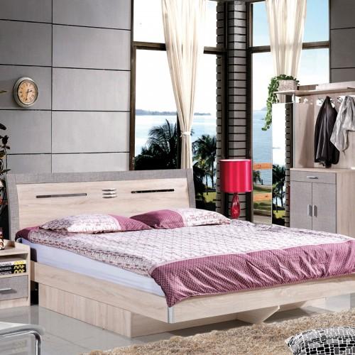 木纹雕套灰布纹双人床套房HXT-03A