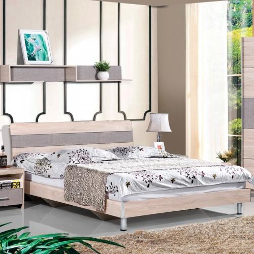 木纹雕套灰布纹现代双人床套房HC1-M01