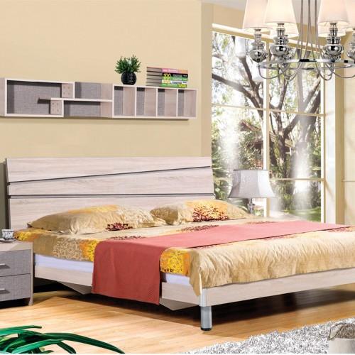 木纹雕套灰布纹简约双人床套房HA-22A