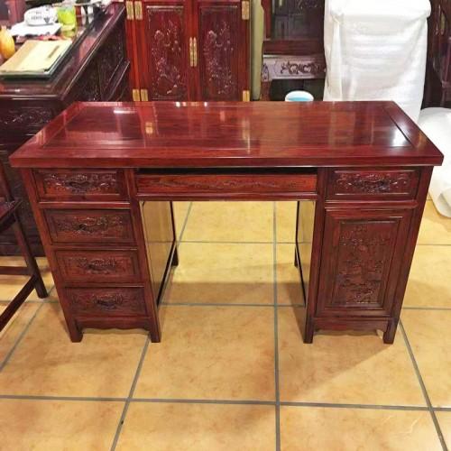 古典中式榆木雕花电脑桌书桌01