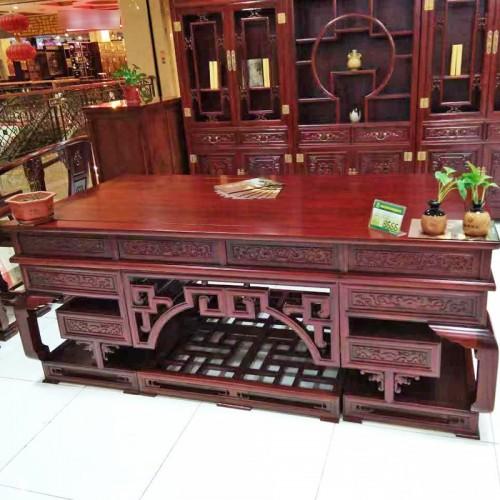 老榆木拱桥雕花字台书桌书柜组合03