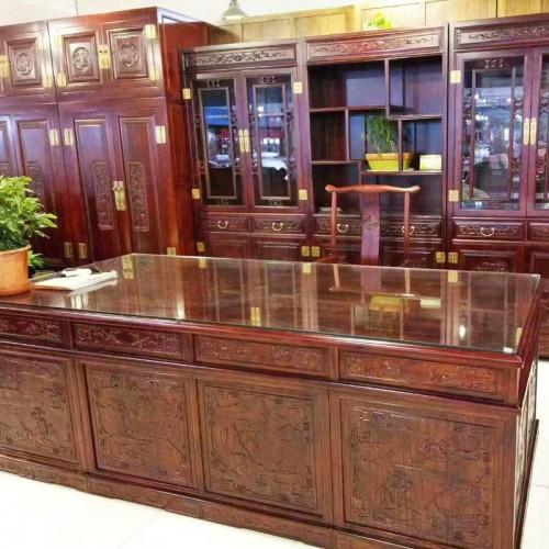 榆木家具仿古雕花书柜书桌04