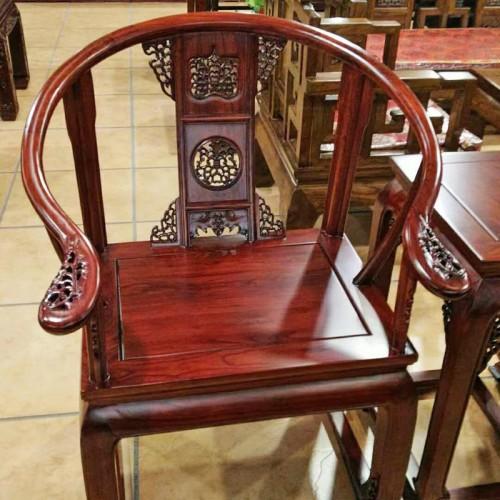 皇宫椅老榆木太师椅圈椅三件套01