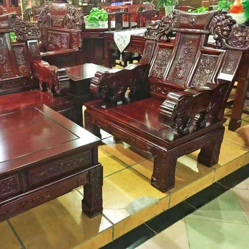 仿古中式榆木雕花沙发组合05
