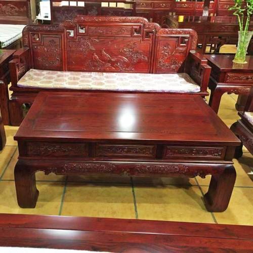古典中式榆木雕刻花鸟沙发组合06