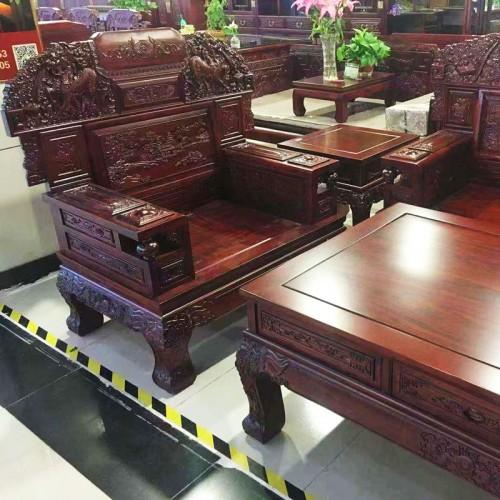 中式榆木客厅雕刻沙发组合07