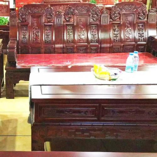 仿古中式客厅榆木象头扶手沙发组合10
