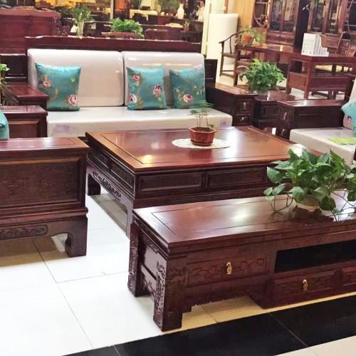 中式简约老榆木雕花沙发组合15