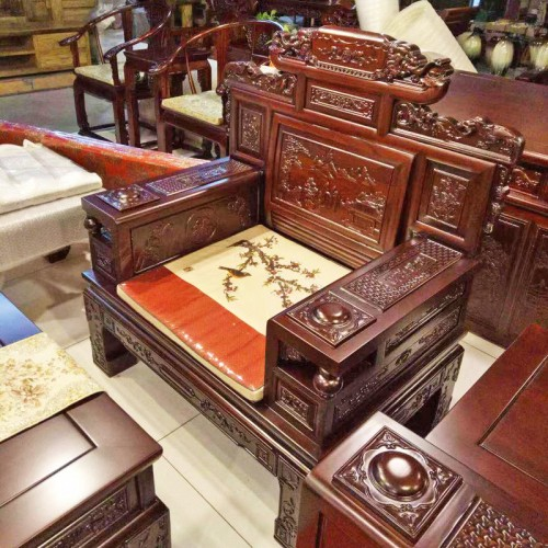 仿古中式老榆木雕花沙发组合16