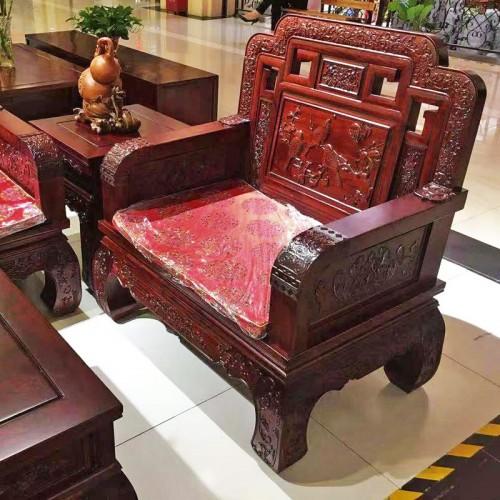 中式榆木雕刻花鸟沙发组合17