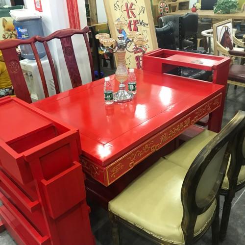 红色酒店实木长餐桌04