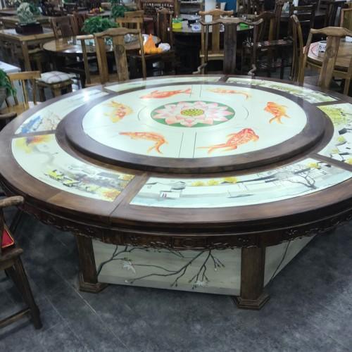 中式图案酒店圆餐桌04