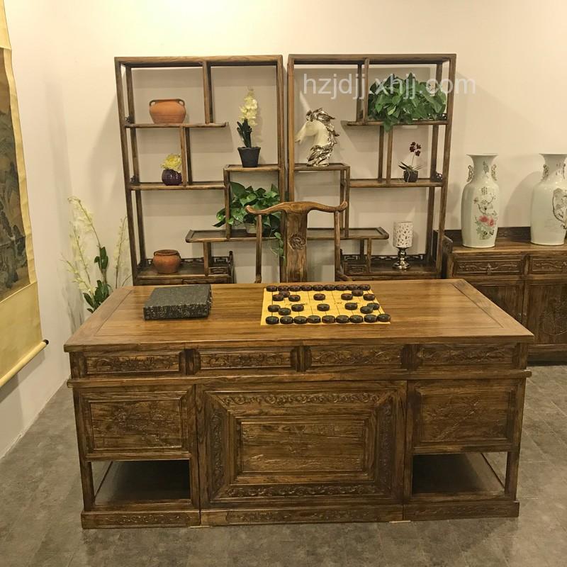 香河华尊实木雕花茶桌02