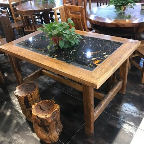 香河理石榆木餐桌椅01