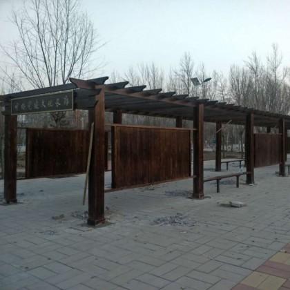 定制长廊亭子户外碳化木防腐木庭院设计实木