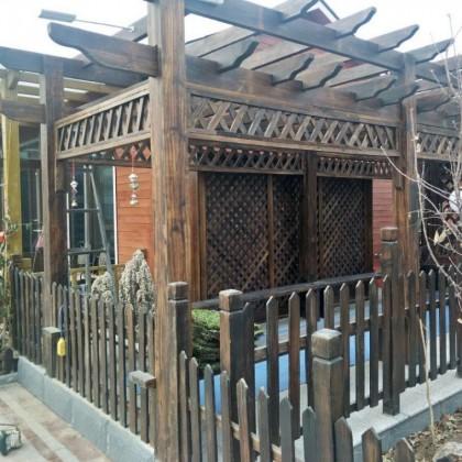 简易可定制户外碳化木长廊亭子防腐木廊架凉亭葡萄架架子走廊连廊