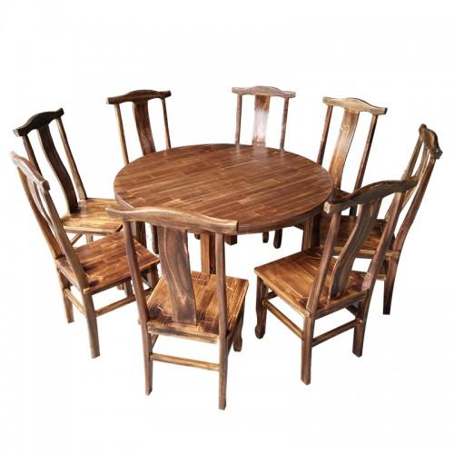 实木复古餐桌椅酒店农