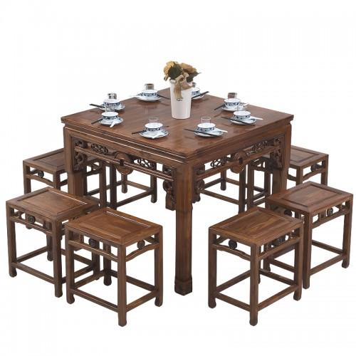 中式明清古典方形餐桌