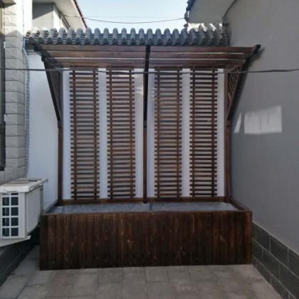 长型碳化木防腐木松木实木花箱户外防晒廊架墙挂小院里用的