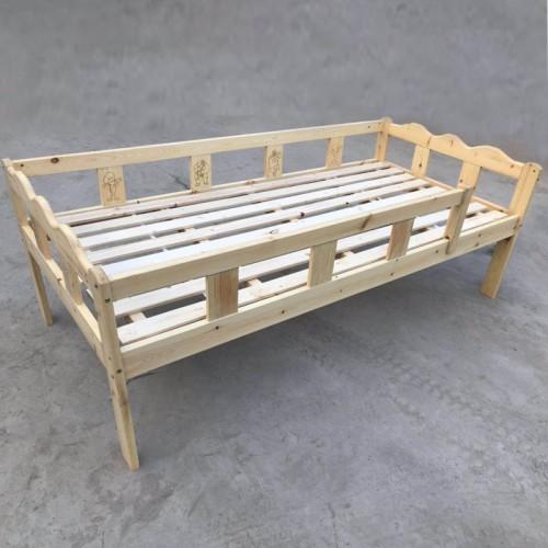 简约儿童松木床带护栏