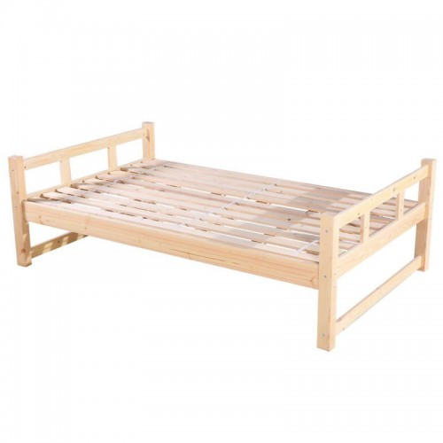 简约现代松木床家用单