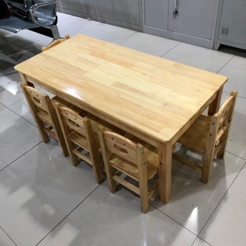 早教中心幼儿园松木桌
