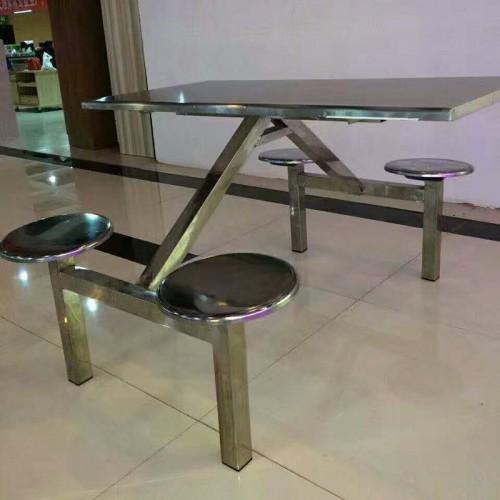 学校部队公司不锈钢连体食堂餐桌椅组合04