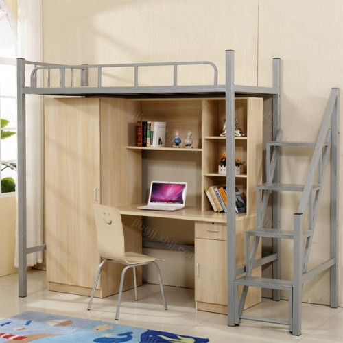 大学生公寓床员工宿舍床带书桌衣柜一体08