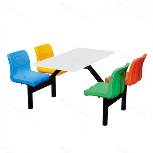 食堂餐桌连体四人位快餐桌椅10
