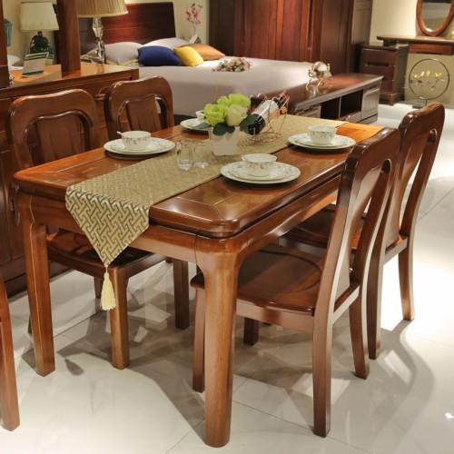 美式实木长方形饭桌餐厅餐桌椅01