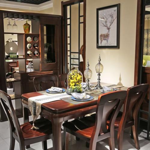 简约家用全实木餐桌椅组合03