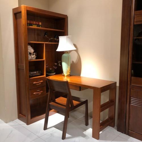 全实木连体书桌带书架家用写字桌01
