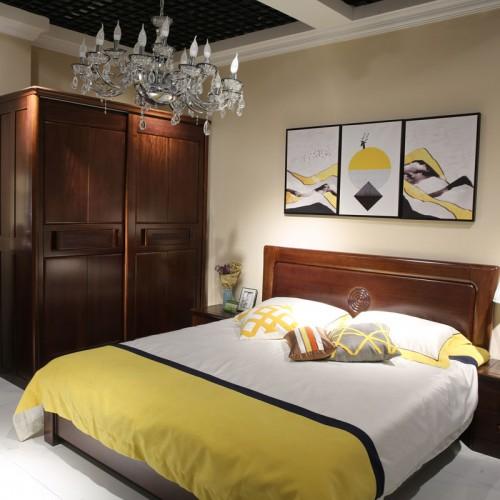 现代新中式卧室实木双人床衣柜02