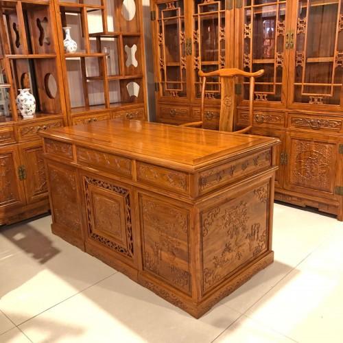 书房家具仿古老榆木书桌椅书柜组合02