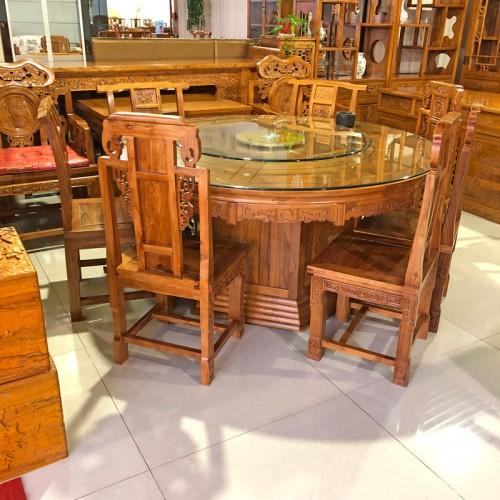 榆木古典家具如意圆餐台象头餐椅03