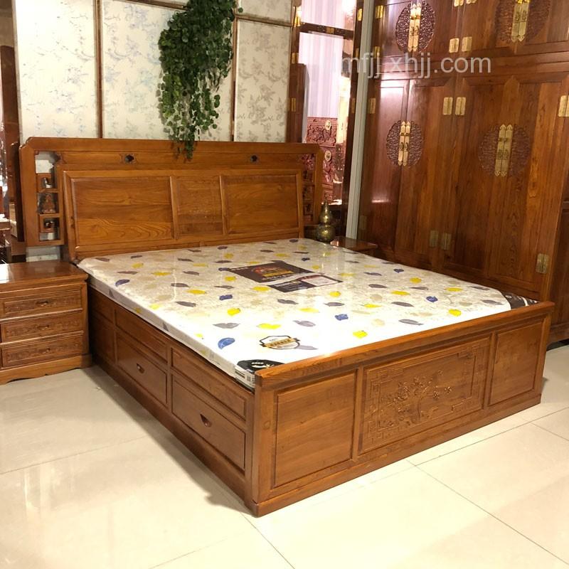 简约中式榆木卧室双人床储物床03