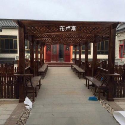 户外松木小院定制长廊碳化木凉亭栅栏杆走廊架子爬藤花架花园装饰