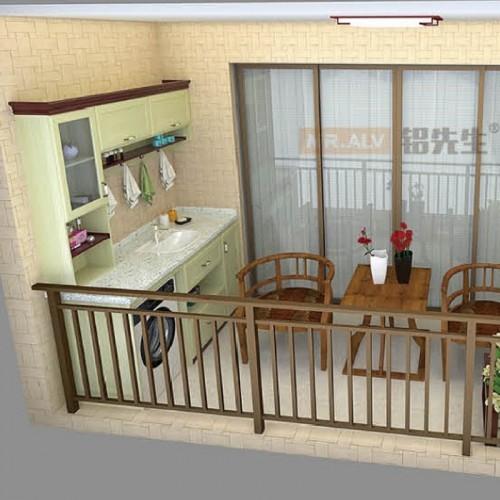 红柚木枫丹白露结合全铝阳台柜MRALV-L10