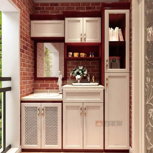 白橡木红柚木结合全铝阳台柜BJB-L04