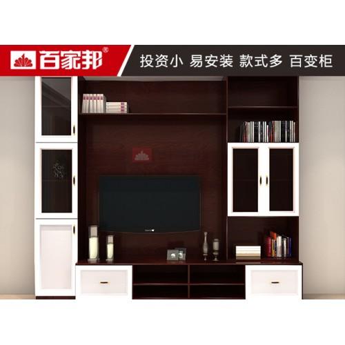 红柚木全铝电视柜背景柜01