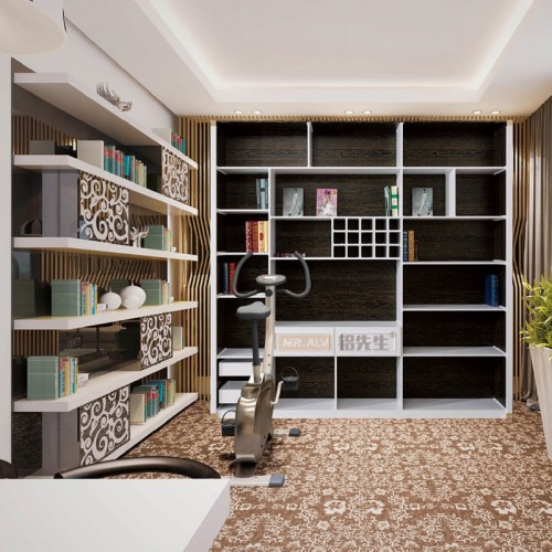 3D金丝黑檀木亚光白全铝书柜MRALV-E15