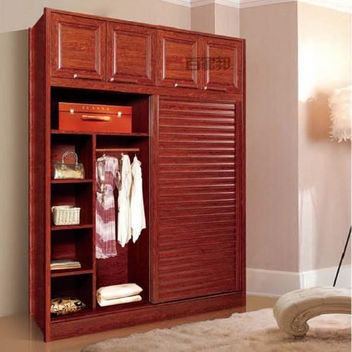 红柚木全铝推拉门衣柜BJB-B41