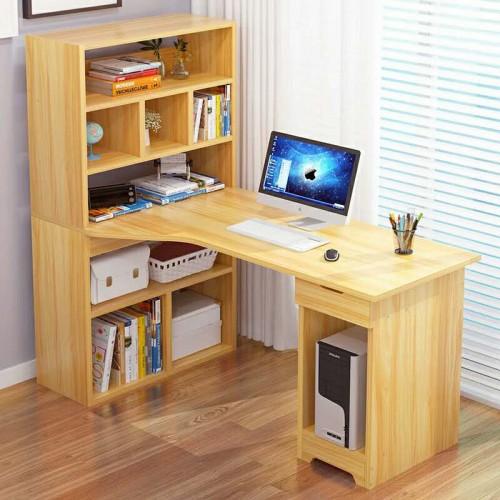 简约台式电脑桌书桌带书架06