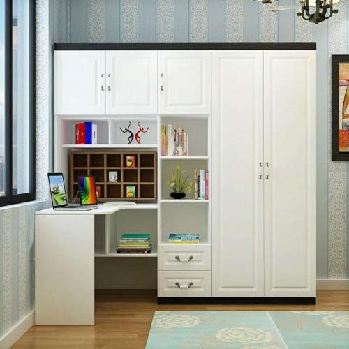 连体书桌转角定制书柜衣柜一体组合08