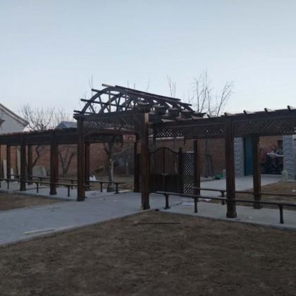 走廊定制户外碳化木长廊葡萄架室外防腐木庭院设计亭子