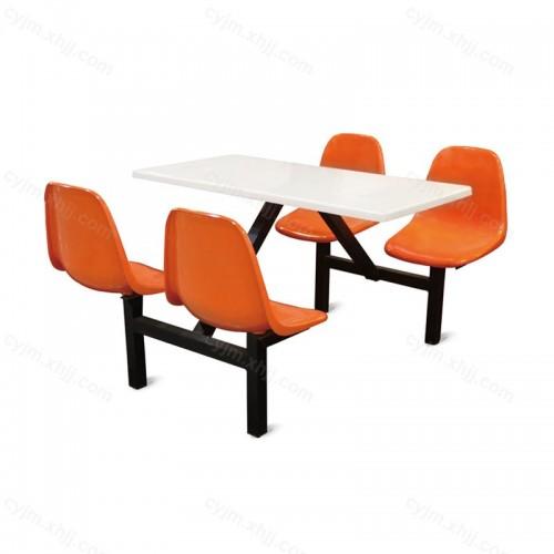 学生餐厅连体餐桌椅05