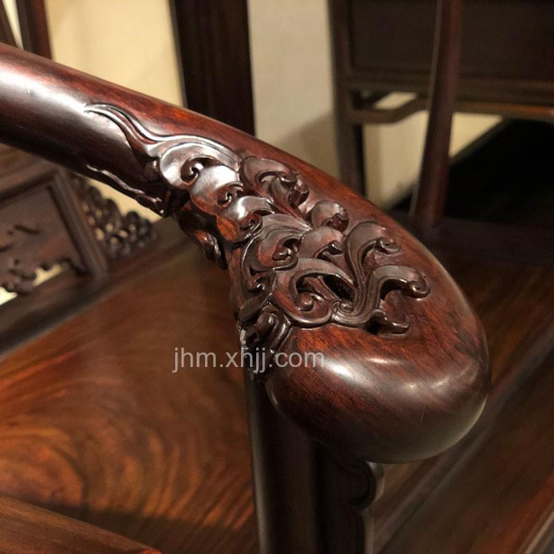 老挝大红酸枝皇宫椅圈椅44